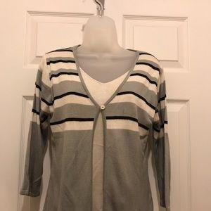 Layered grey striped sweater size M
